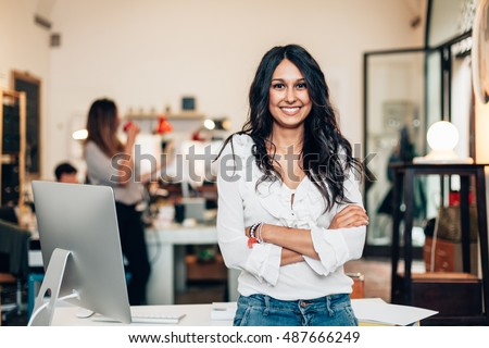 Start up of enterprise, women leader the new company self-confident #487666249