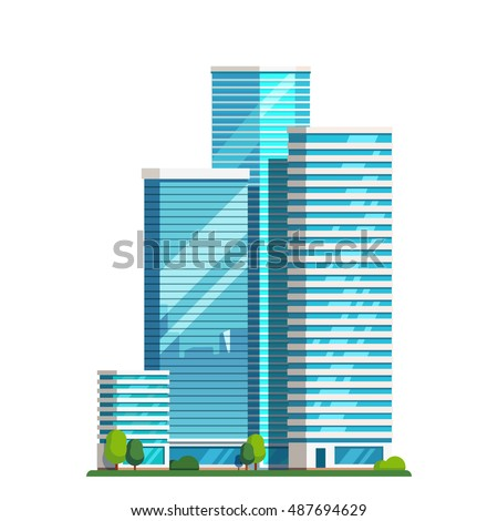 Downtown skyscrapers with skyline reflections on shiny glass facades. Modern flat style vector illustration isolated on white background. Royalty-Free Stock Photo #487694629