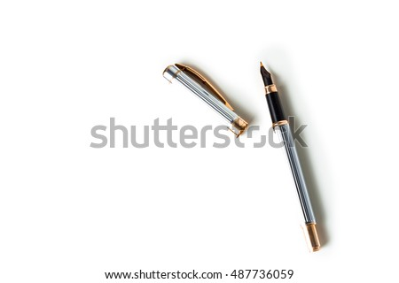 Elegant gold plated business fountain pen isolated on white with clipping path #487736059