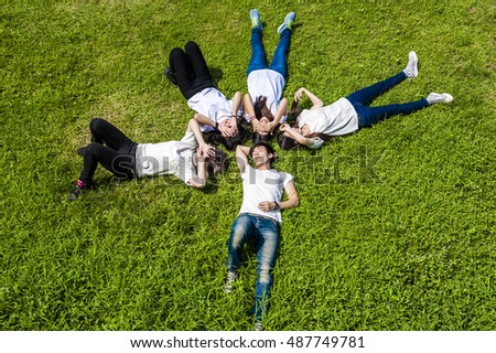 group of happy college students outdoors #487749781