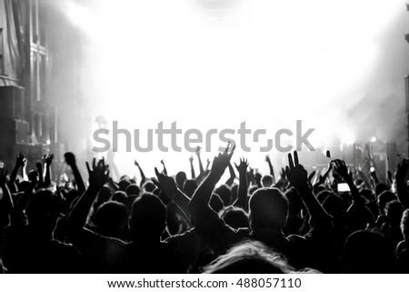 Rock concert. Light show,Public, France, Europe #488057110