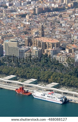 MALAGA, SPAIN - SEPTEMBER 22, 2011: Aerial photography with view of the harbor and boats #488088127