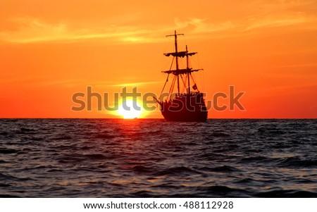 sailing ship vintage sea sunset #488112928