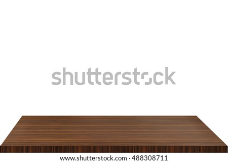 Wood table top on blurred hallway background. Modern simple wooden favorite sign.  #488308711