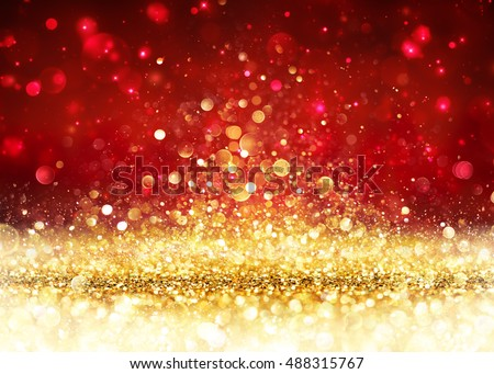 Christmas Background - Golden Glitter On Shiny Red Royalty-Free Stock Photo #488315767