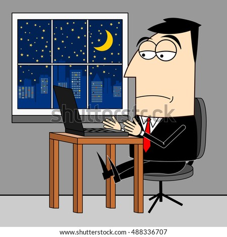 Businessman, overtime working clip-art