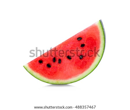 Sliced of watermelon isolated on white background. #488357467