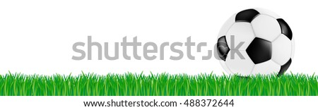 soccer retro vector leather ball black white on green grass isolated #488372644