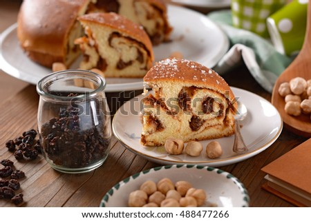 homemade cake with hazelnuts and raisins #488477266