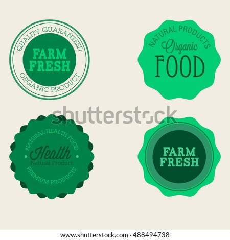 Vector farm badge set of Fresh Organic elements. Vintage style labels for natural food and drink, products, biodynamic agriculture, on the nature background. Collection 100% bio, eco, healthy stickers Royalty-Free Stock Photo #488494738