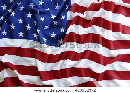 Closeup of rippled American flag #488552392