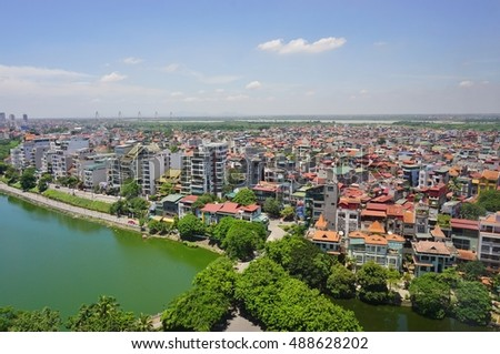 HANOI, VIETNAM -10 AUGUST 2016-  Scenic view of Hanoi, the capital of Vietnam, near the West Lake. #488628202