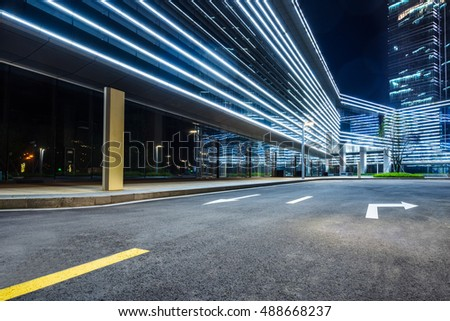 clean asphalt road through office block area,suzhou,china. #488668237