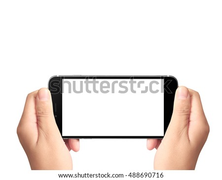 Touch screen smartphone in a hand #488690716