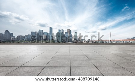 cityscape and skyline of chongqing from empty brick floor #488709148