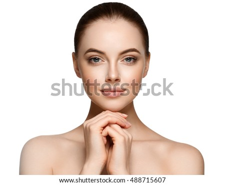 Beauty Woman face Portrait. Beautiful Spa model Girl with Perfect Fresh Clean Skin. Brunette female looking at camera and smiling. Youth and Skin Care Concept #488715607