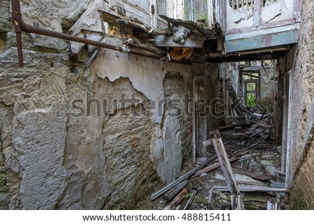 Abandoned house with collapsed ceiling  #488815411