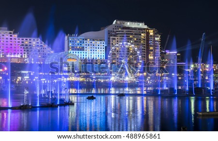 Light and water fountains show at Darling Harbour Royalty-Free Stock Photo #488965861