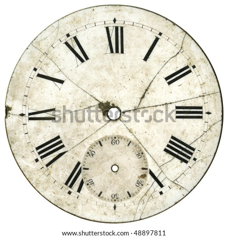 Vintage pocket watch - cracked, broken and dirty enamel dial only - isolated with clipping path #48897811
