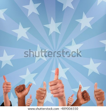 Digital image of people doing thumbs up behind American flag #489006550