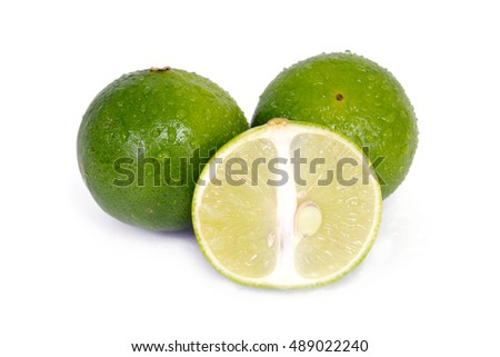 Lemon fruit (Other names are lime in French, citrus fruit, lime green, Key lime, Persian lime, Kaffir lime, desert lime) with half cross section and partial section isolated on white #489022240