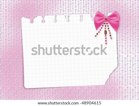 Card for invitation or congratulation with bow and beads #48904615