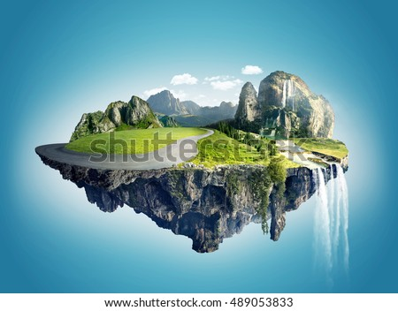 Magic island with floating islands, water fall and field #489053833