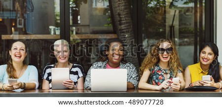 Group of Women Socialize Digital Device Connection Concept #489077728