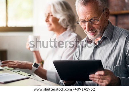 Elderly couple together at the kitchen #489141952