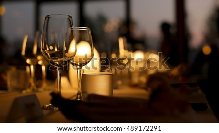Detail on the table reception dinner on sunset time #489172291