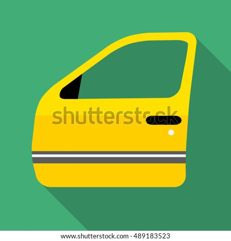 Colorful car door icon in modern flat style with long shadow. Car parts and service vector illustration #489183523