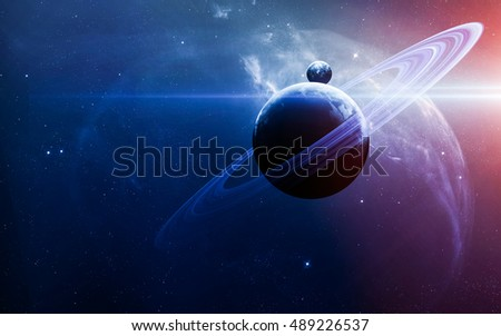 Abstract scientific background - planets in space, nebula and stars. Elements of this image furnished by NASA nasa.gov #489226537