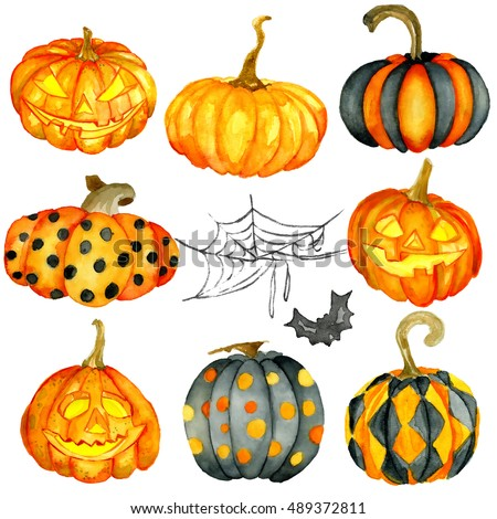 Watercolor Halloween set. Hand drawn holiday illustrations isolated on white background: natural and decorative pumpkins with spider web. Artistic autumn decor clip art