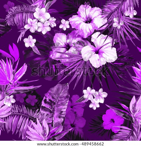Beautiful tropic pattern with painting flowers hibiscus and bird of paradise. Cute painted tropical illustration, palm leaf and banana leaves. Dark purple forest background. Deep jungle plants #489458662