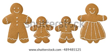 Gingerbread family on a white background decorated with icing  #489485125