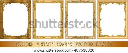 Set of Decorative vintage frames and borders set,Gold photo frame with corner thailand line floral for picture, Vector design decoration pattern style. border design is pattern Thai style Royalty-Free Stock Photo #489610828