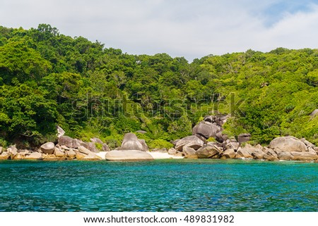 Rocks, clear sea and blue sky on the island of Koh Similan, the group Similan Islands, Andaman sea, Thailand. #489831982