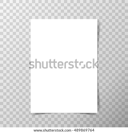 Vector A4 format paper with shadows on transparent background. Royalty-Free Stock Photo #489869764