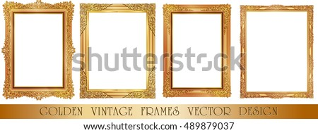 Set of Gold photo frame with corner thailand line floral for picture, Vector design decoration pattern style.frames border design is pattern Thai style Royalty-Free Stock Photo #489879037
