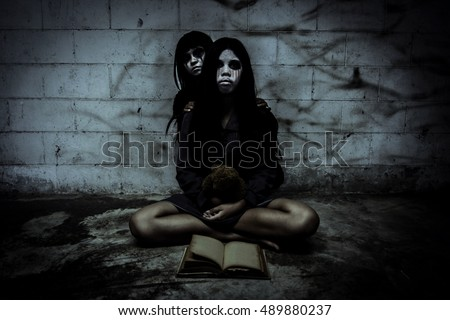 Ghost of two best friend forever in Haunted building,Horror background for halloween concept and book cover ideas