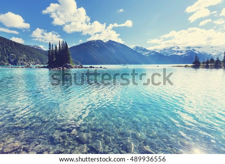 Hike to turquoise Garibaldi Lake near Whistler, BC, Canada. #489936556