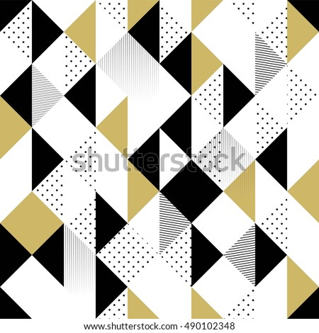 Abstract Seamless Pattern. Seamless Pattern with Triangles. Gold black and white triangle Pattern . Vector illustration