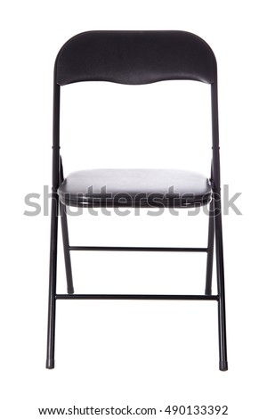 black folding office chair isolated on white background #490133392
