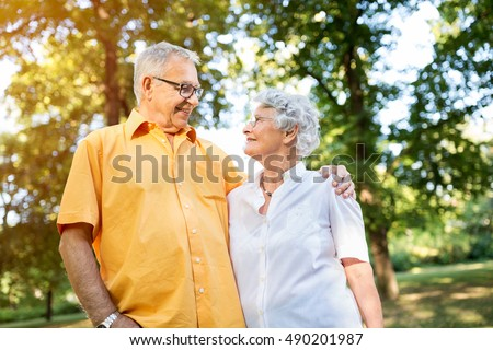 Look of love and satisfaction, senior couple at park #490201987