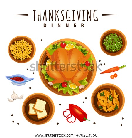 A illustration of food of thanksgiving dinner on the table viewed from above