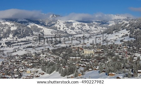 Famous village and holiday resort Gstaad, Switzerland #490227982
