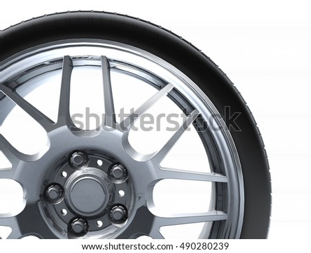 Sport car wheel. A single car tire or tyre. On a white background. 3d render illustration high resolution #490280239