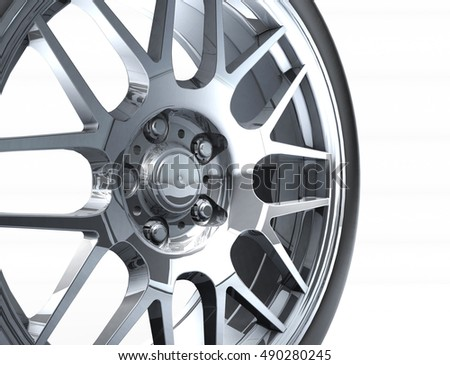 Sport car wheel. A single car tire or tyre. On a white background. 3d render illustration high resolution #490280245