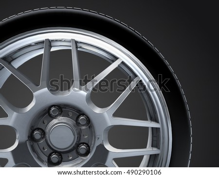 Sport car wheel. A single car tire or tyre. On a black background. 3d render illustration high resolution #490290106