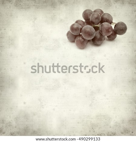 textured old paper background with fresh red grapes clusters #490299133